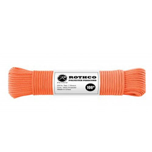 Rothco Polyester 550 Paracord 100 ft Safety Orange, , hi-res
