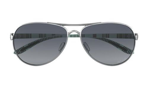 Oakley Feedback Polished Chrome Frame Sunglasses with Grey Gradient Polarized Lenses, , hi-res