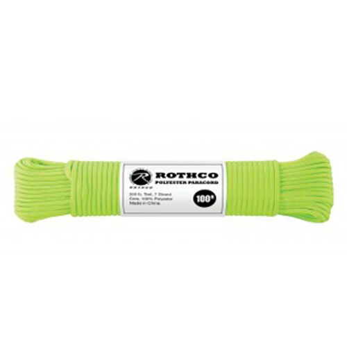 Rothco Polyester 550 Paracord 100 ft Safety Green, , hi-res