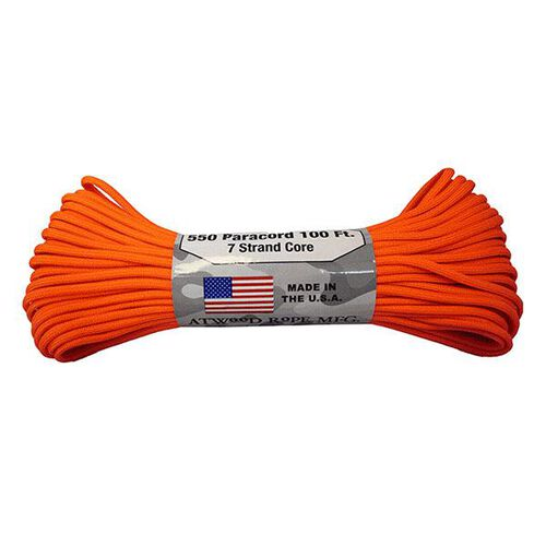 Atwood Rope 7 Strand 550 Paracord 100' Neon Orange, , hi-res
