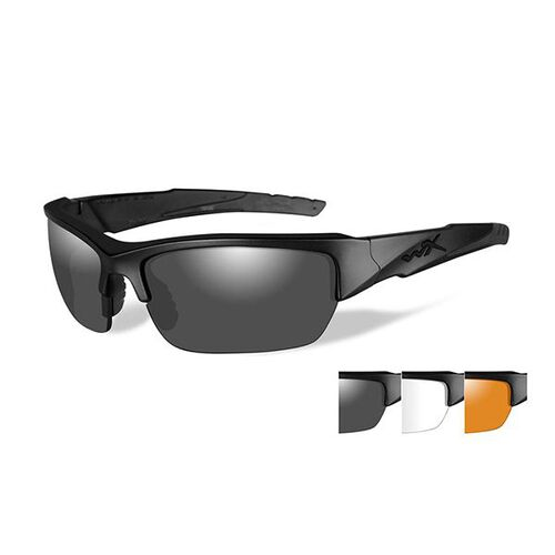 Wiley X Valor Sunglasses Smoke Grey Clear Light Rust 3 Lens CHVAL06, , hi-res