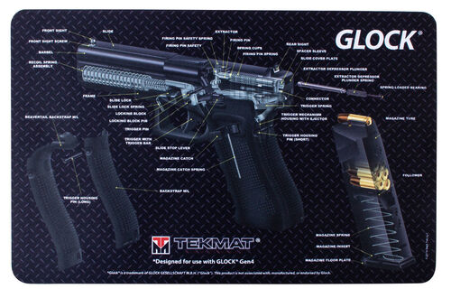 "TekMat Glock Gen 4 Grey and Glock Cutaway Double Sided Gun 11""x17"" Cleaning Mat, , hi-res"