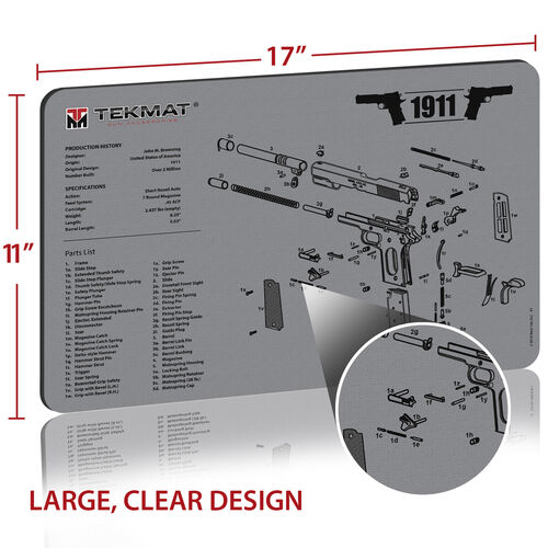 TekMat 1911 Gun Cleaning 11x7 Mat Gun Cleaning 11x17 Mat, , hi-res