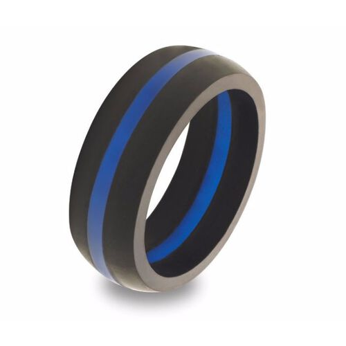 QALO Men's Thin Blue Line Ring, , hi-res