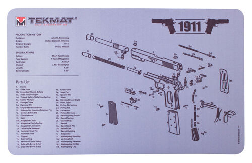 """TekMat 1911 Grey and 1911 Cutaway Double Sided Gun 11""""x17"""" Cleaning Mat, , hi-res"""