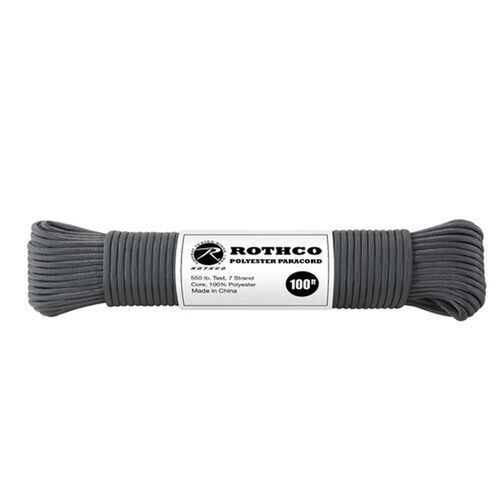 Rothco Polyester 550 Paracord 100 ft Charcoal Grey, , hi-res