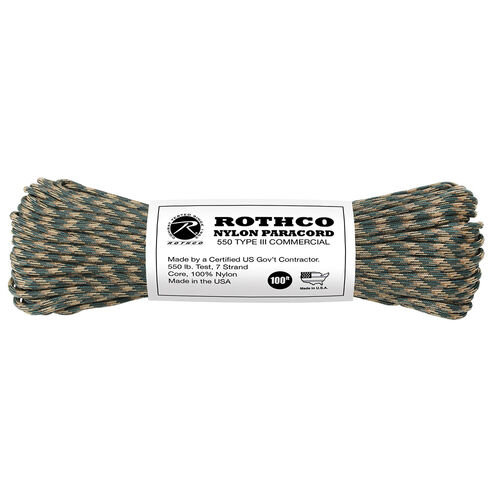 Rothco Nylon Tactical 550 Paracord Type III 100 Ft, , hi-res