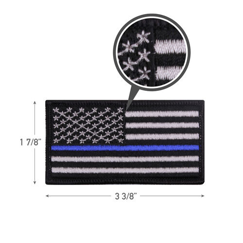 Rothco Thin Blue Line Flag Iron On Patch, , hi-res
