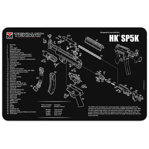 TekMat Heckler and Koch SP5K Gun Cleaning 11x17 Mat, , hi-res