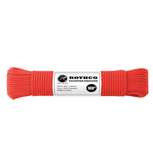 Rothco Polyester 550 Paracord 100 ft Red, , hi-res